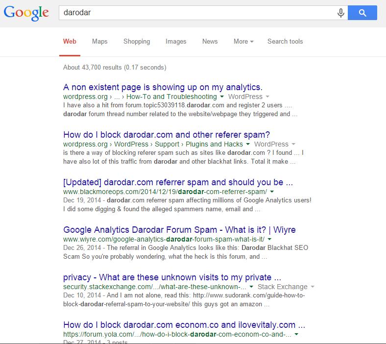 Darodar spam bot referral traffic Google Analytics