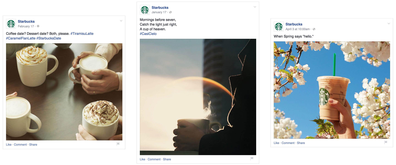 Starbucks Facebook Posts Engaging Photos Minimal Copy Creative